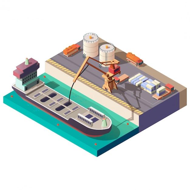 Erdöl, das durch isometrischen vektor des schiffs transportiert Kostenlosen Vektoren