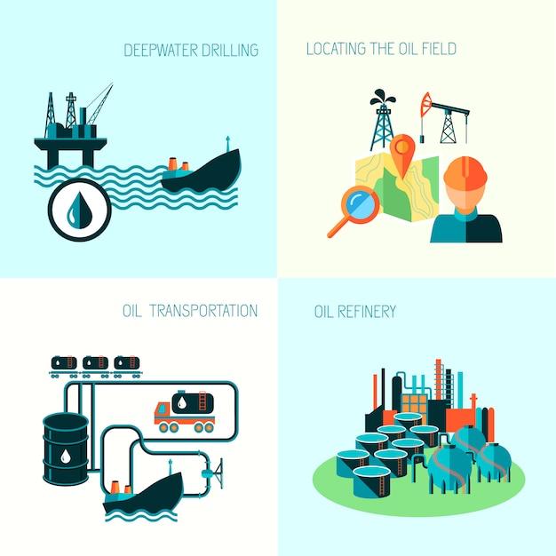 Erdölindustrie-geschäftskonzept der elementzusammensetzungs-vektorillustration der benzindieselproduktionskraftstoffverteilung und des transportes vier Premium Vektoren