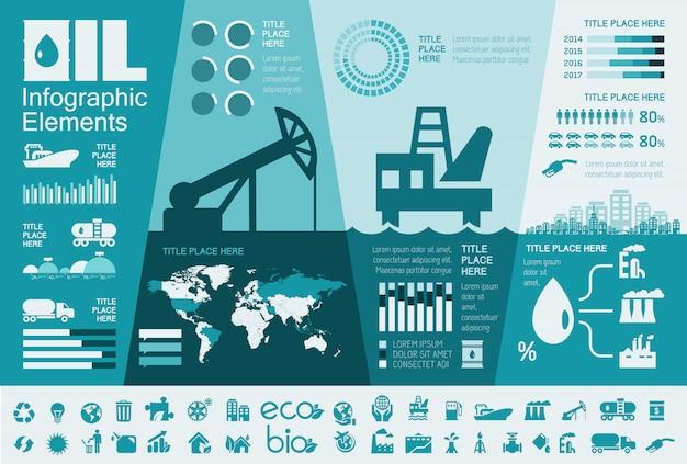 Erdölindustrie infographik vorlage Premium Vektoren