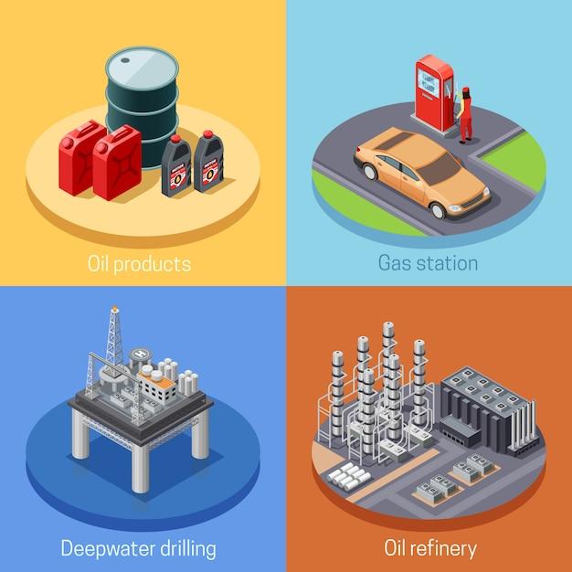 Erdölindustrie-isometrisches ikonen-quadrat Kostenlosen Vektoren