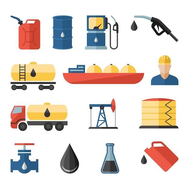 Erdölindustrie, welche die raffinierungsprozess-erdöltransportikonen eingestellt bohrt Premium Vektoren