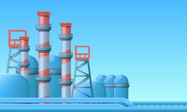 Erdölraffinerie-illustrationskarikaturart Premium Vektoren