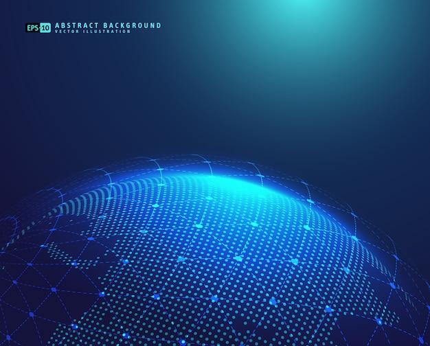 Erdraum-kugelplanet mit blauen strahlen Premium Vektoren
