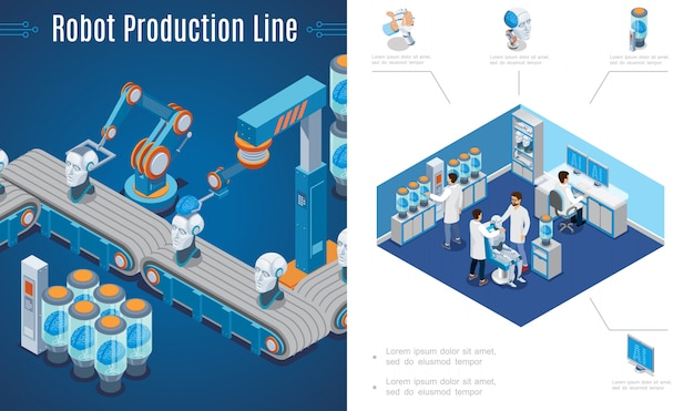 Erfindung der künstlichen intelligenz mit roboterproduktionslinie und wissenschaftlern erstellen cyborgs im labor im isometrischen stil Kostenlosen Vektoren