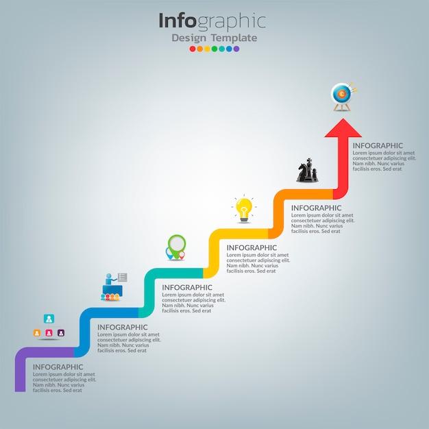 Erfolg infografik vorlage mit treppenstufen gebäude. Premium Vektoren