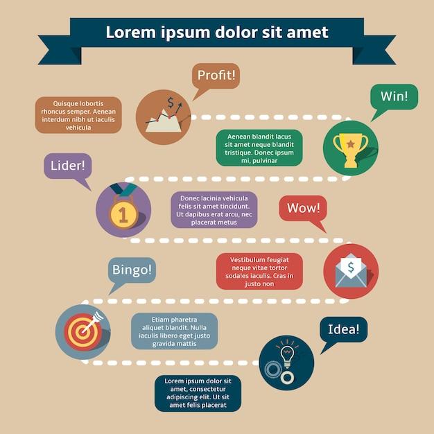 Erfolg infografiken vorlage Kostenlosen Vektoren