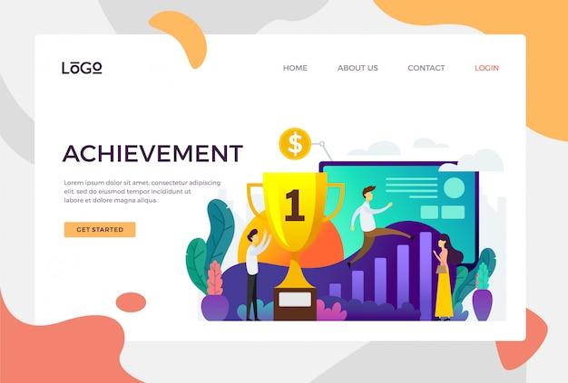 Erfolg landing page Premium Vektoren