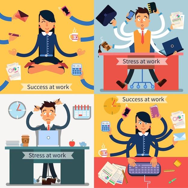 Erfolg und stress bei der arbeit. mann und frau bei der multitasking-arbeit Premium Vektoren