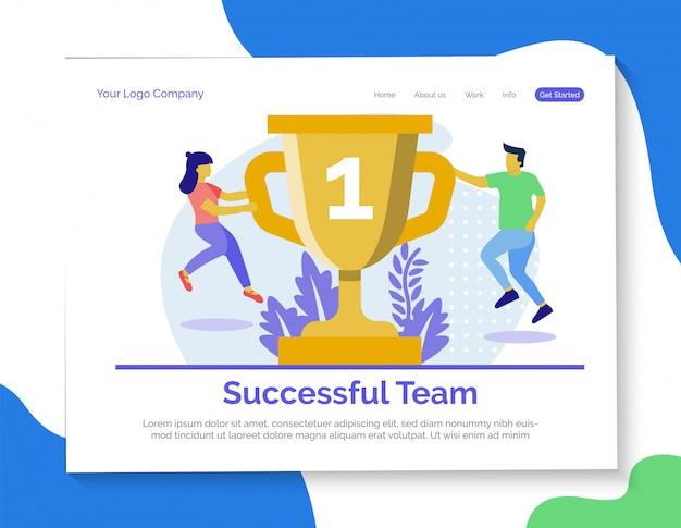 Erfolgreiche team-landingpage Premium Vektoren