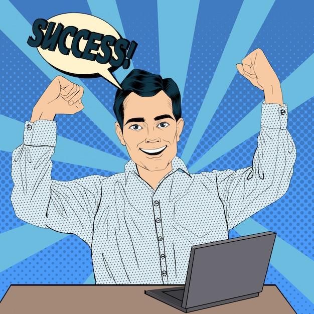 Erfolgreicher geschäftsmann bei der arbeit mit laptop. vektorabbildung im knall art style Premium Vektoren