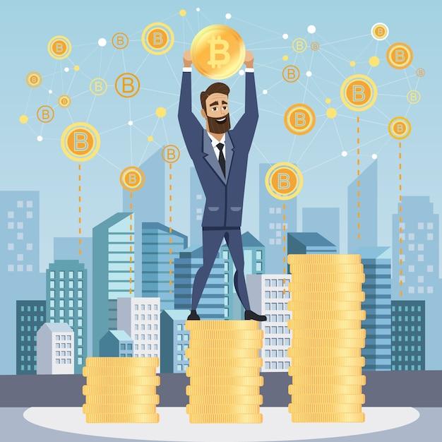 Erfolgreicher geschäftsmann mit bitcoin. Premium Vektoren