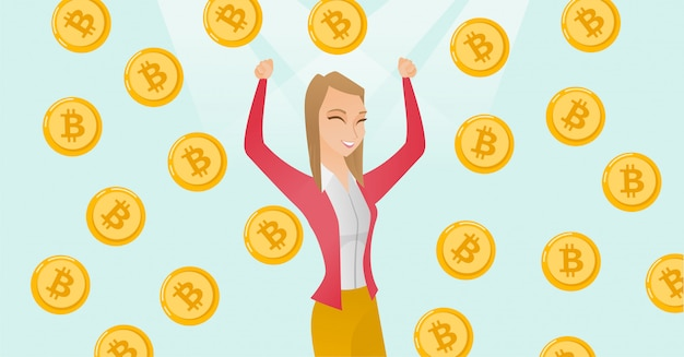 Erfolgreicher investor, der unter bitcoinregen steht. Premium Vektoren