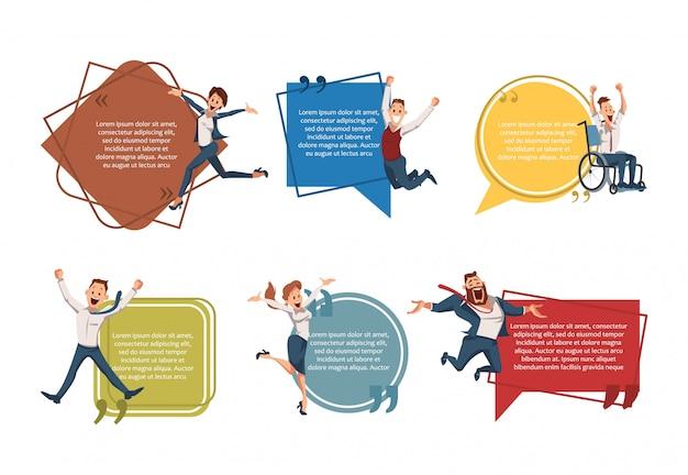Erfolgreiches unternehmertum banner set Premium Vektoren