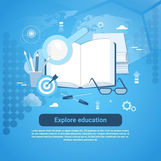 Erforschen sie bildungs-onlinekonzept-web-fahne mit kopienraum Premium Vektoren