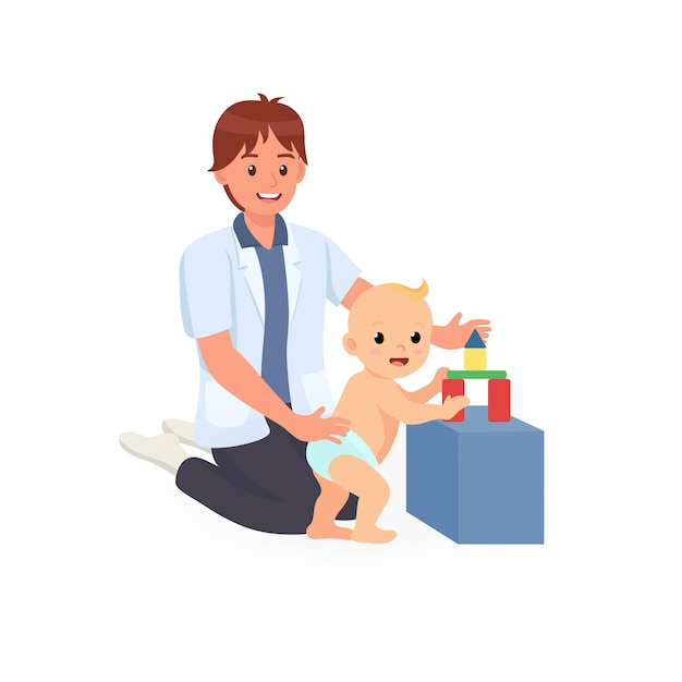 Ergotherapeutische behandlungssitzung für das screening der kindlichen entwicklung Premium Vektoren