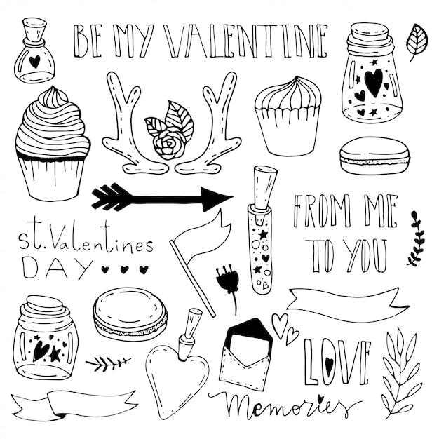 Erinnerungen in einem glas. heilig-valentinstag-gekritzelillustration. Premium Vektoren
