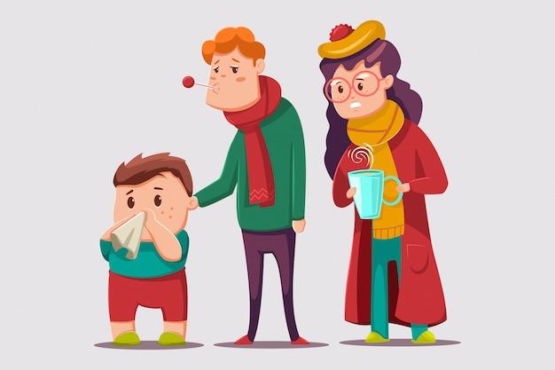 Erkältung und grippe cartoon illustration. kranker familiencharakter. Premium Vektoren