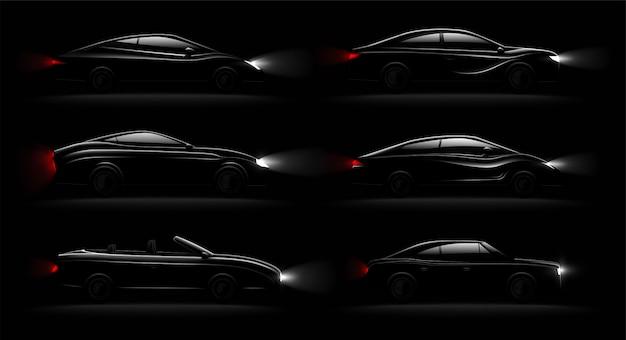 Erleichterte autos in der dunkelheit realistische 6 schwarze luxusautomobillampen beleuchteten satz mit cabriolet-limousinenheckheck Kostenlosen Vektoren