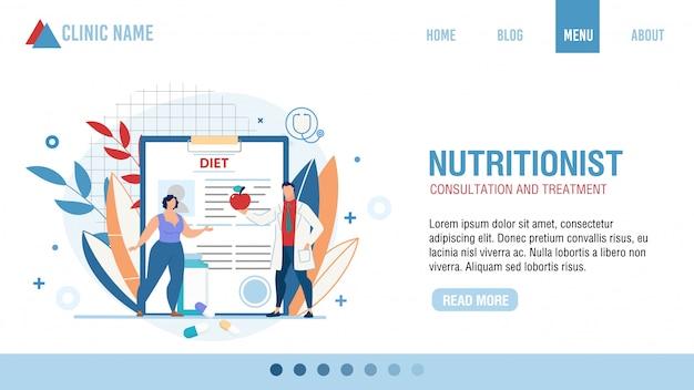 Ernährungsberatung behandlung landing page Premium Vektoren