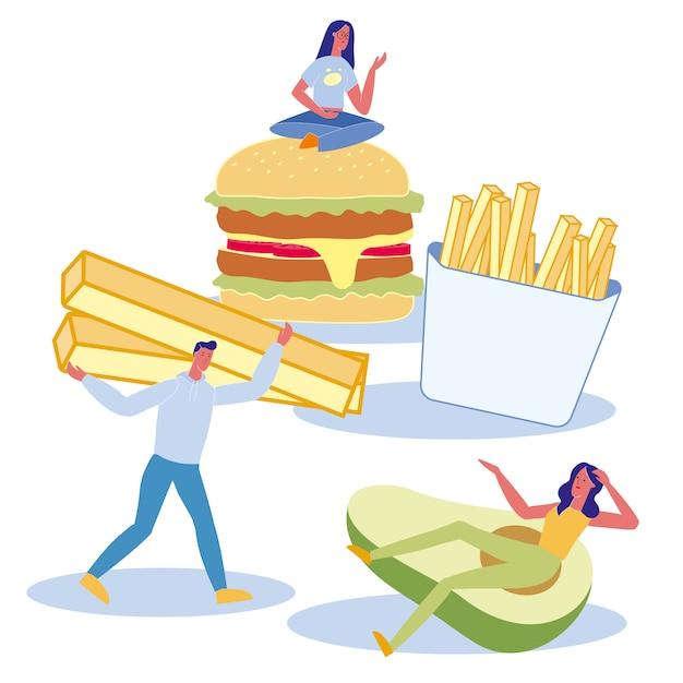 Ernährungseinstellungen flache abbildung Premium Vektoren