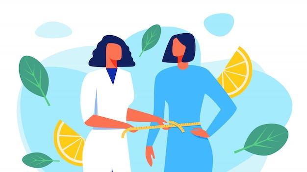 Ernährungswissenschaftler im weißen mantel misst taillen-patienten. Premium Vektoren