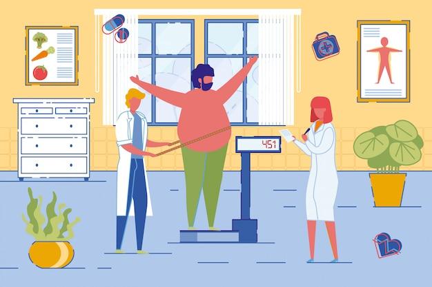 Ernährungswissenschaftler oder ernährungsberater wiegen patienten. Premium Vektoren