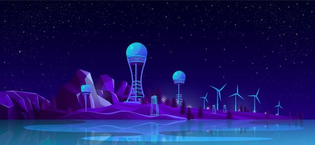 Erneuerbare energieerzeugungs-karikaturkonzept Kostenlosen Vektoren