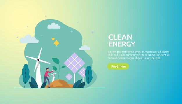 Erneuerbare grüne energiequellen und saubere umwelt Premium Vektoren