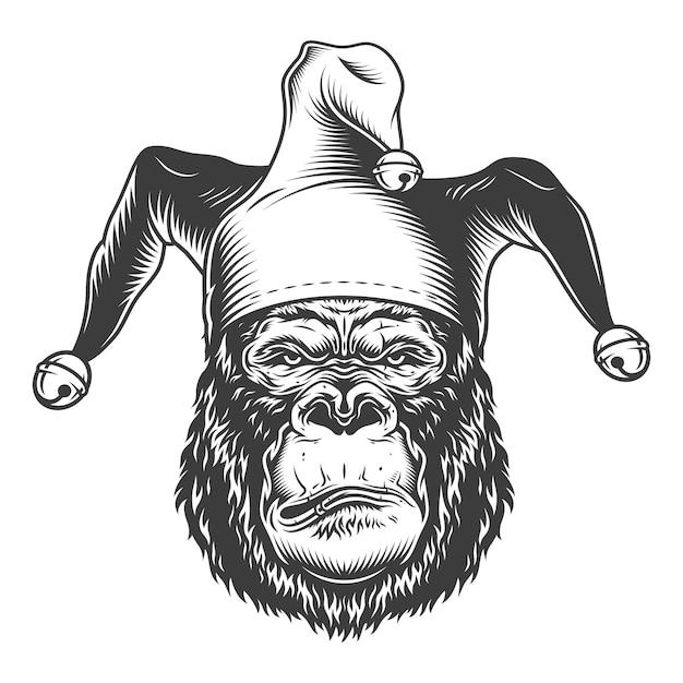 Ernster gorilla im monochromen stil Kostenlosen Vektoren