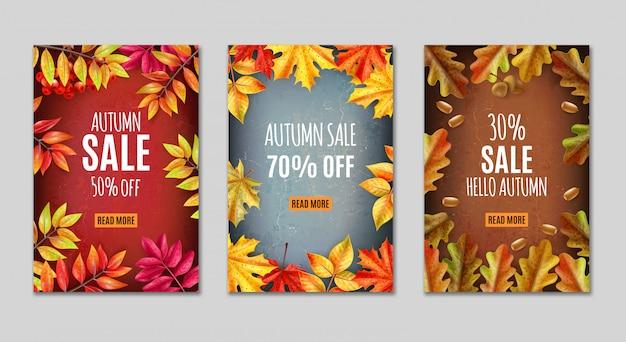 Erntedankfest-banner oder -tag-satz mit herbstverkaufsbeschreibungen und orangefarbenen blättern um vektorillustration Kostenlosen Vektoren