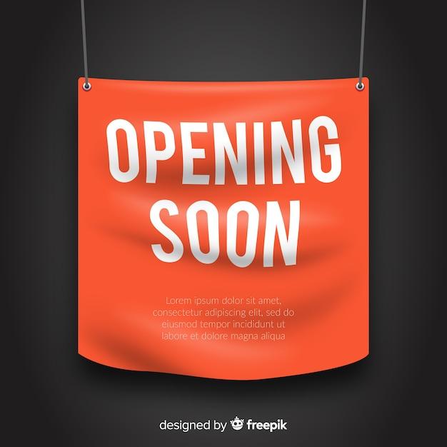 Eröffnung bald banner im realistischen stil Kostenlosen Vektoren