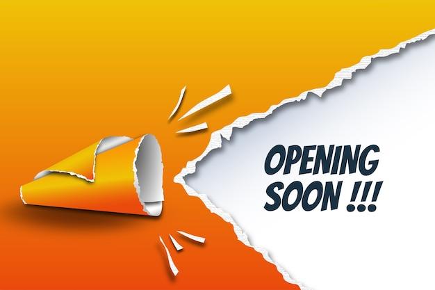 Eröffnung bald vorlage mit megaphon von zerrissenen papierrollen gemacht Premium Vektoren