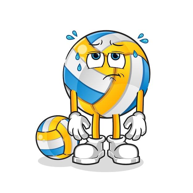 Erschöpfte volleyball-zeichentrickfigur Premium Vektoren