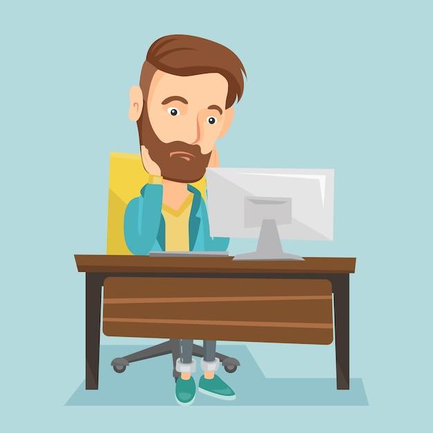Erschöpfter trauriger angestellter, der im büro arbeitet. Premium Vektoren