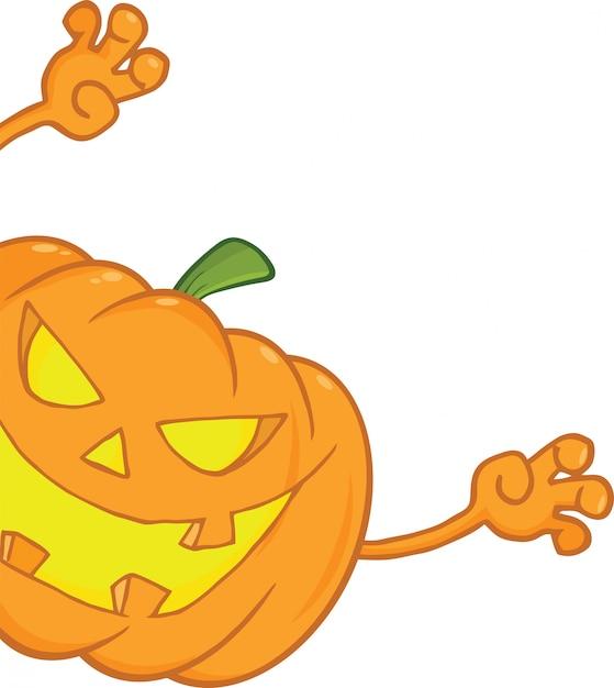 Erschreckender halloween-kürbis, der um ein zeichen schaut Premium Vektoren