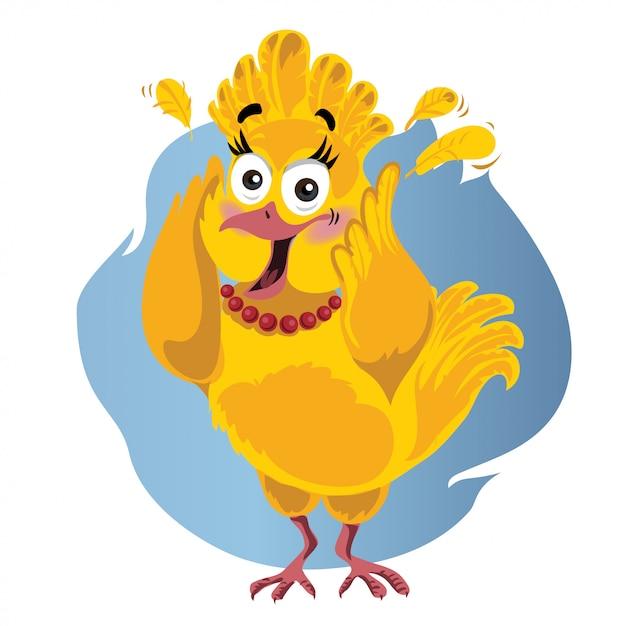 Erschrockene türkei-lustige vektor-karikatur - illustration des erntedankvogels in der panik Premium Vektoren