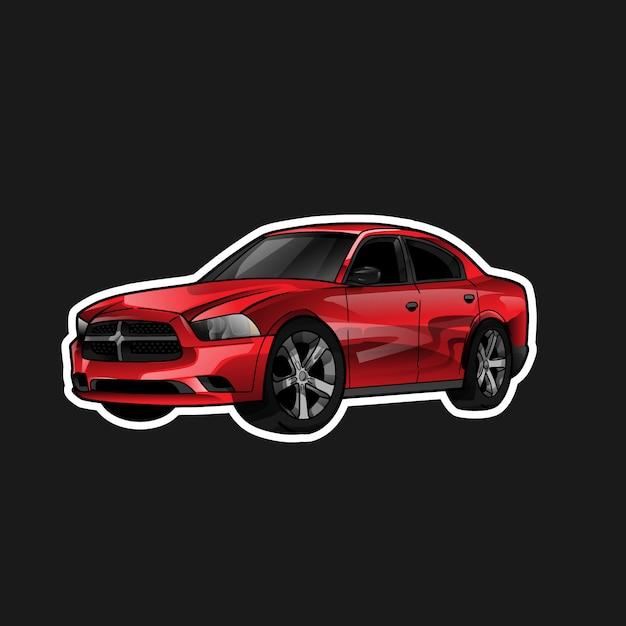 Erstaunliche rote autoillustration Premium Vektoren