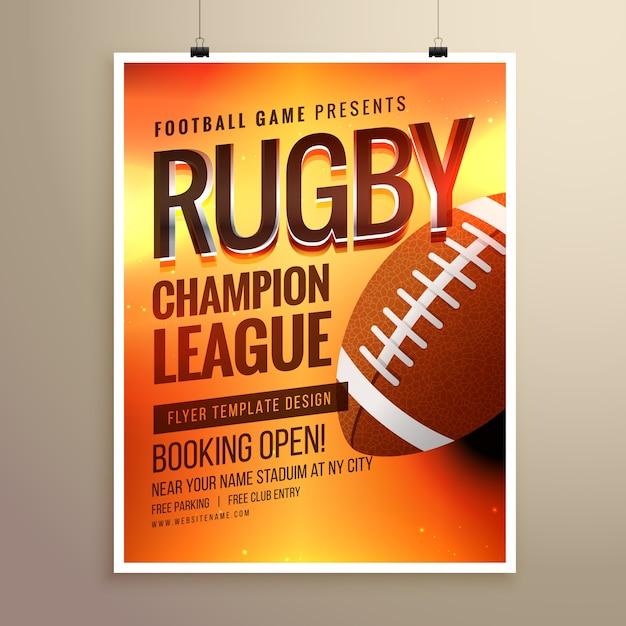 erstaunliche Vektor Rugby Flyer Poster Design-Vorlage mit Ereignisdetails Kostenlose Vektoren