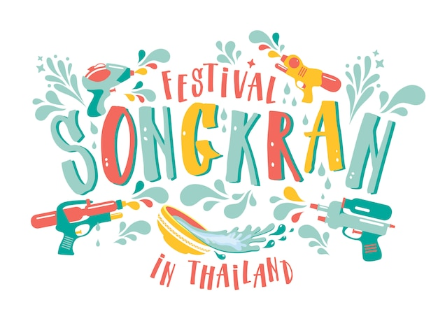 Erstaunlicher festivalentwurf thailands songkran auf weiß. Premium Vektoren