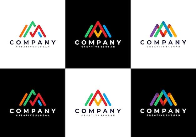Erstaunlicher moderner brief am mit bunter logo-set-sammlung Premium Vektoren