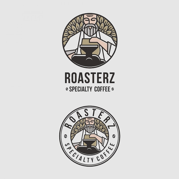 Erstaunliches logoemblem für kaffeestuben Premium Vektoren