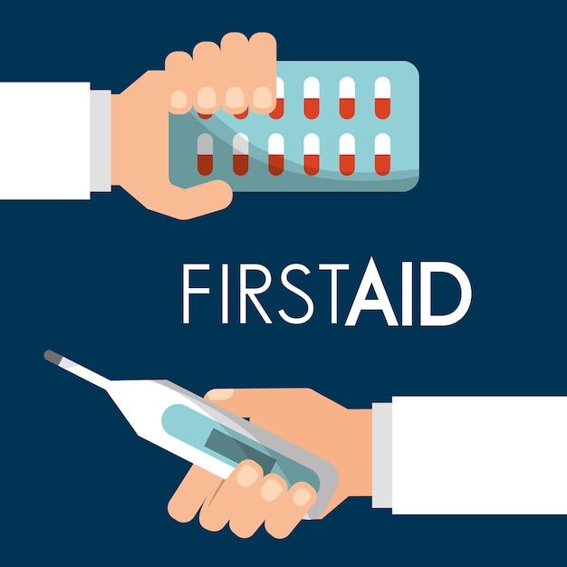 Erste-hilfe-hand mit pillen und thermometer Premium Vektoren