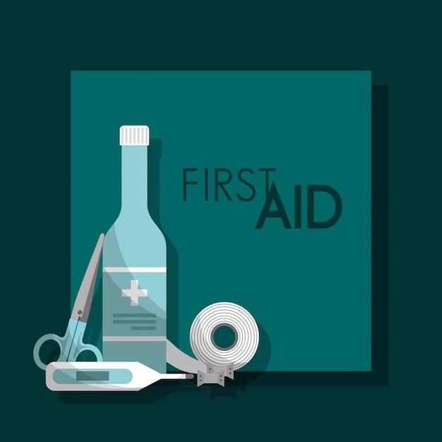 Erste-hilfe-kit medizinische gesundheit Premium Vektoren