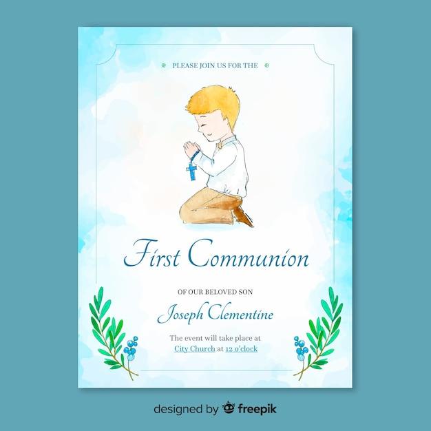 Erste kommunion einladungsvorlage Kostenlosen Vektoren