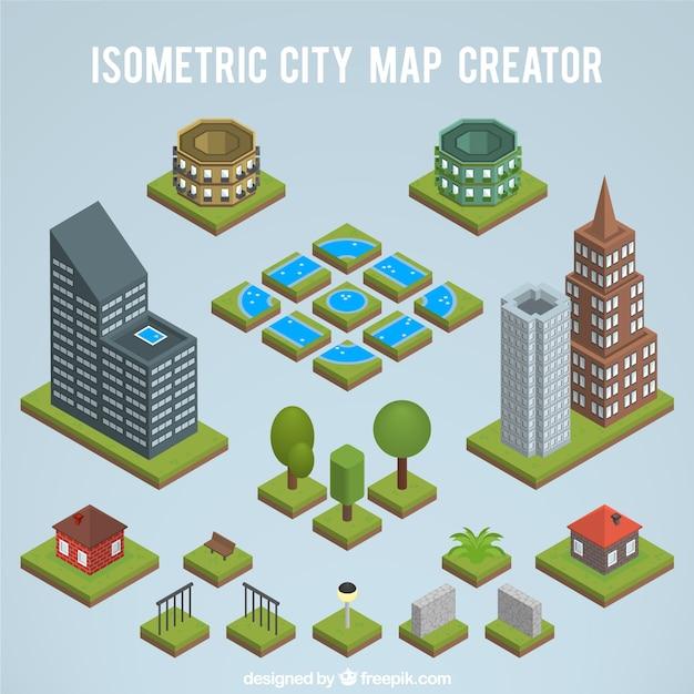 Erstellen einer isometrischen stadtplan Kostenlosen Vektoren