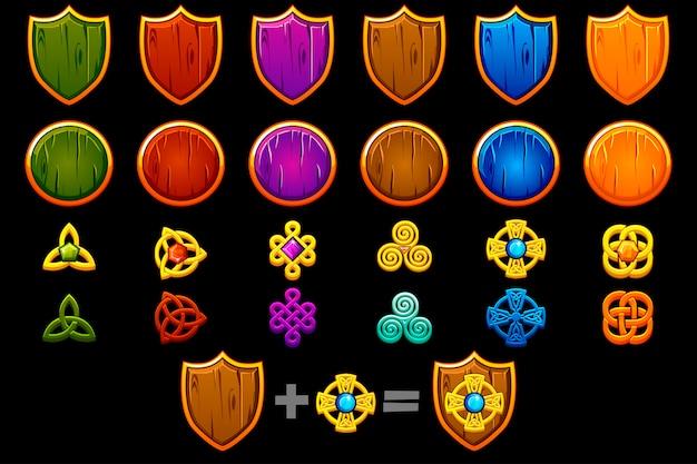 Erstellen sie ein celtic shield-set. konstruktor zum erstellen eines anderen kits, spieleentwicklung. Premium Vektoren