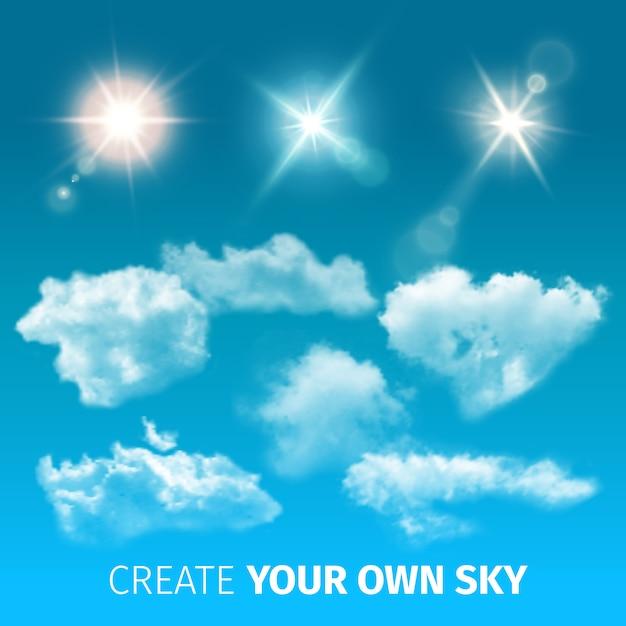 Erstellen sie himmelrealistische wolken symbol gesetzt mit isolierten und farbigen wolken und sonnenstrahlen Kostenlosen Vektoren