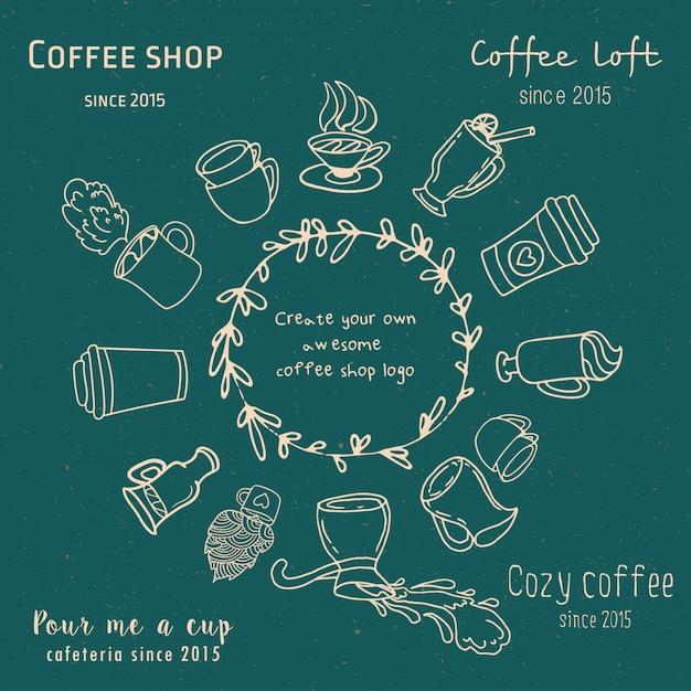Erstellen sie ihr eigenes café-logo Premium Vektoren