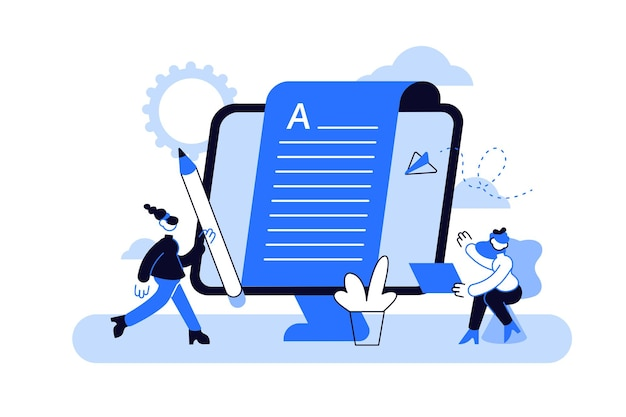 Erstellen von inhalten, artikel, schreiben von texten und bearbeiten von remote-jobs Premium Vektoren
