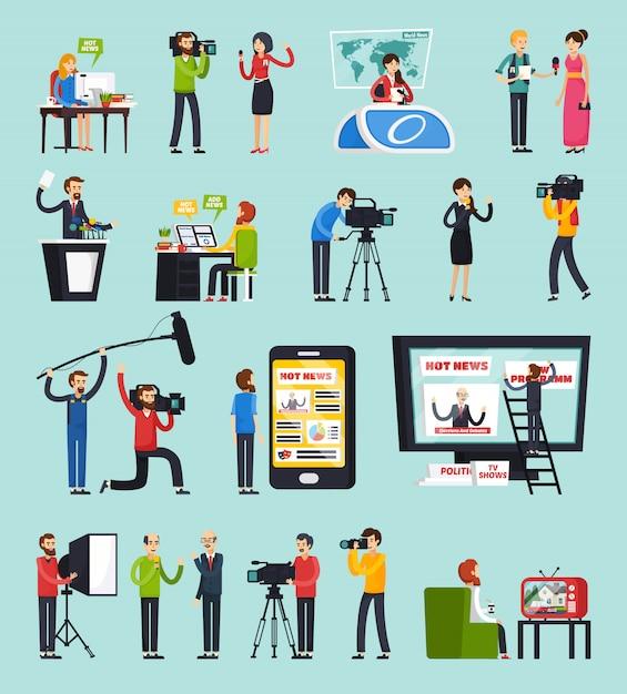 Erstellen von news orthogonalen icons set Kostenlosen Vektoren